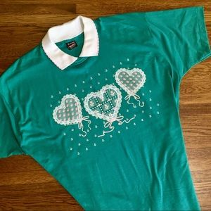 vintage Granny collared t-shirt Country hearts xXL